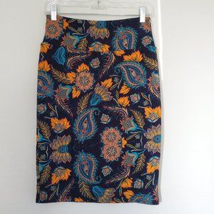 LulaRoe Floral + Peacock Cassie Skirt - Size S